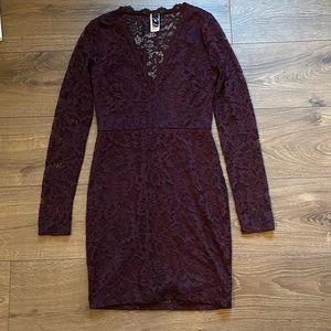 Purple Lace Long Sleeve Plunge Neckline Mini Dress